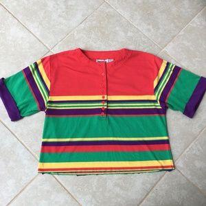 Vintage 90s Striped Henley Tshirt Rainbow M/L Crop